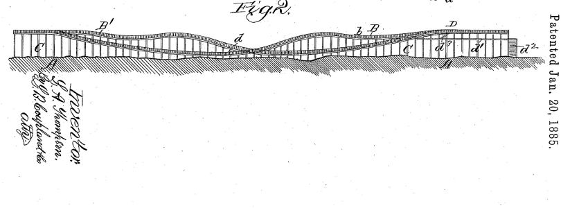 """Roller coasting structure"" (US310966A) by LaMarcus A. Thompson, 1885"