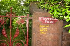 "Old entrance gate to ""Strawberry Field"", an orphanage in Liverpool immortalized by Lennon in a song"