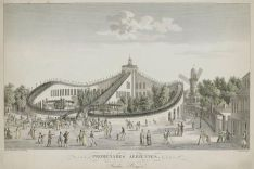 """Promenades Aeriennes"" at Jardin Baujon, Paris (around 1820). Etching by Lerouge after L. Garneray"